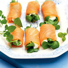 Smoked Salmon, Cream Cheese And Watercress Rolls