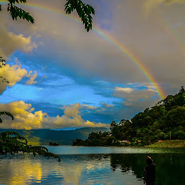 by Ricky Andesta - Landscapes Weather ( waterscape, indonesia, west sumatra, lake, landscape, rainbow )