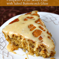 Pumpkin- Pecan Skillet Cake with Salted Butterscotch Glaze