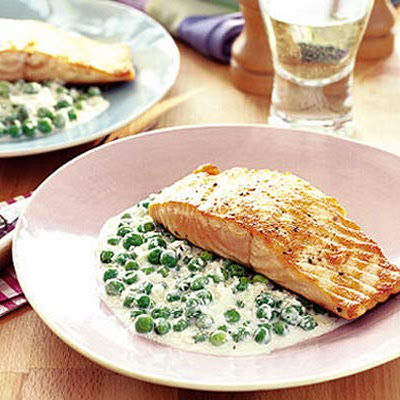 Stir Fry Of Green Peas With Grilled Salmon