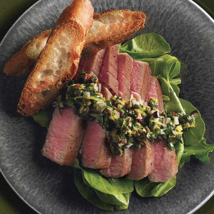 Seared Tuna with Olive-Tapenade Vinaigrette and Arugula Recipe ...