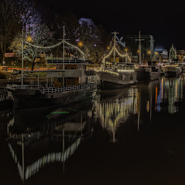 Turku Night by Lasbi Naboj - City,  Street & Park  Neighborhoods ( vista, ships, night, turku, neighbourhood, river )