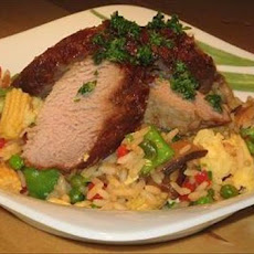 Marinated Oriental Pork Tenderloin With Fried Rice
