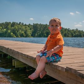 Chillin' by Darren Whiteley - Babies & Children Toddlers ( child, water, orange, summer, jetty )