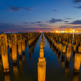 Old Pier by Peter Nguyen - Buildings & Architecture Other Exteriors ( port, old, pier, night,  )