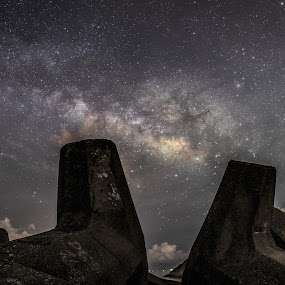 Star Ocean by Anthony Lau - Landscapes Starscapes ( hong kong, concrete infrastructure, man yee reservoir, astronomy, starscape, nightscape, galaxy, milky way )