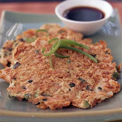 Shredded Carrot-Ginger Pancakes with Asian Dipping Sauce