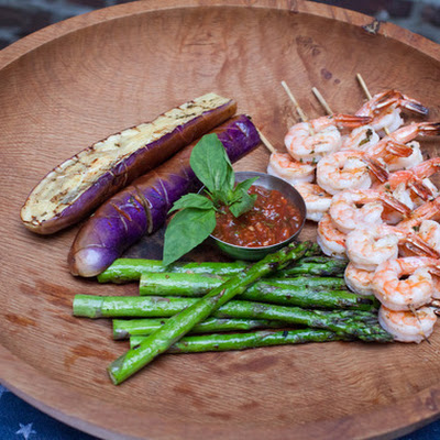 Grilled Shrimp Cocktail with Asparagus & Eggplant