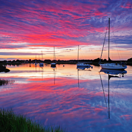 The Way It Was by Fran McMullen - Landscapes Sunsets & Sunrises ( water, reflection, sky, sailboats, sunset, dramatic, pink )