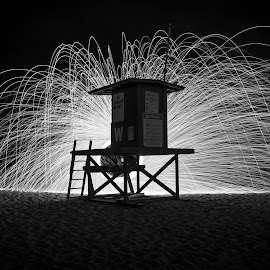 Lifeguard Fire Spin by Benjamin Perkins - Abstract Light Painting ( light trail, steel wool, fire spin, long exposure, beach )