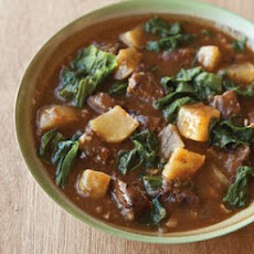 Beef Stew with Turnips and Greens