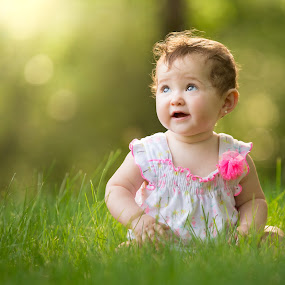 Grass Time by Mike DeMicco - Babies & Children Child Portraits ( warm, girl, grass, baby, light, pretty,  )
