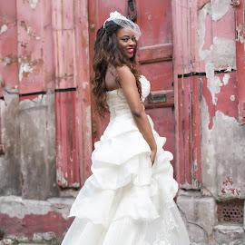 by Monika Schaible - Wedding Bride ( london, monika schaible, distressed walls, white dress, wedding dress, urban wedding shoot, bride )