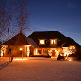 lit house by Jay Anderson - Buildings & Architecture Homes ( lights, shutter, night, slow, house, dusk,  )