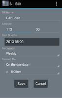 Screenshot of Billski bill tracker