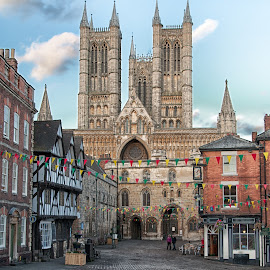 Hill Street Lincoln England by Jonathan Abrams - City,  Street & Park  Historic Districts ( church, shops, pubs, street, cobble stone, hotel )