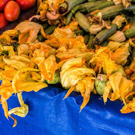 Courgette Flowers by Vibeke Friis - Food & Drink Fruits & Vegetables ( market, blue, yellow, zuccini, courgette flowers, orange. color )