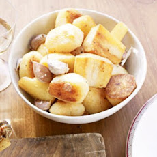 Golden Roasted Potatoes, Parsnips & Garlic