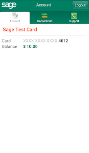 Sage Card - Cardholder - screenshot