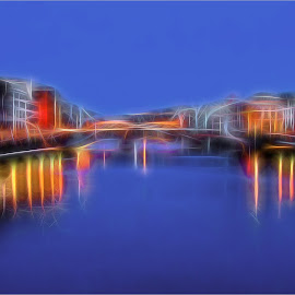 Ponte Vecchio, Florence by Cathy Wagner - Digital Art Places ( florence, night photography, digital art, bridge, glow, river )