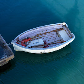 Dinghy by Mark Williams - Transportation Boats ( water, green, boat, rustic, dock )