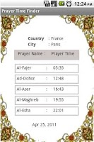 Screenshot of Prayer Time Finder
