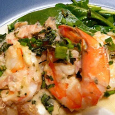 Shrimp with Shallot-Tarragon Sauce on Wilted Spinach