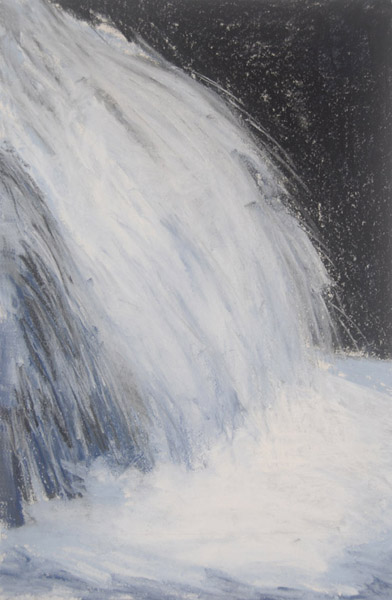 Waterfall #2 <br> Pastel, watercolor on paper <br> 18 x 12 in