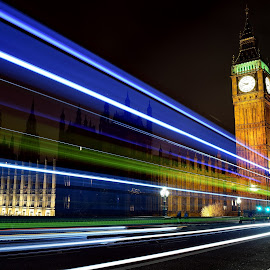 Big Ben Light Trails  by Jon Raffoul - Buildings & Architecture Statues & Monuments ( london, night photography, night scene, light trails, big ben, landscapes, photography,  )