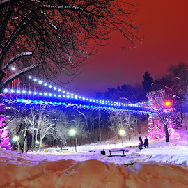 A walk in the park by Jianu Mihai - City,  Street & Park  City Parks ( winter, park, night, bridge, light )