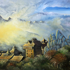 Dusk by brush by Himanshu Gupta - Painting All Painting