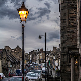 Street Lamp bottom of bank in Barnard Castle by Colin Waite - City,  Street & Park  Street Scenes ( lamp houses shops cars clouds )