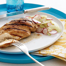Grilled Chicken With Sweet-and-Sour Cucumber-Radish Salad