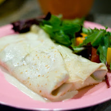 Chicken, Mushroom and Sauteed Spinach Crepes