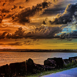 Sunset Ballina by Feona Green-Puttock - Landscapes Sunsets & Sunrises ( clouds, colour, sunset, wharf, evening )