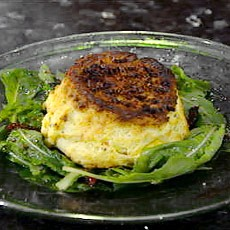 Twice-baked Goats' Cheese Souffles with Chives and Balsamic Vinaigrette
