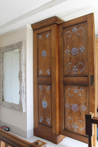 Bespoke Armoire - Classic External with Modern Interior. Hand Painted Tudor Roses & Fleur de Lis