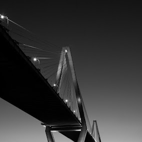 Arthur Ravenel Jr. Bridge At Sunset by Daniel Gorman - Black & White Buildings & Architecture