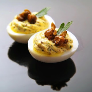 Deviled Eggs With Fried Capers, Lemon, and Parsley