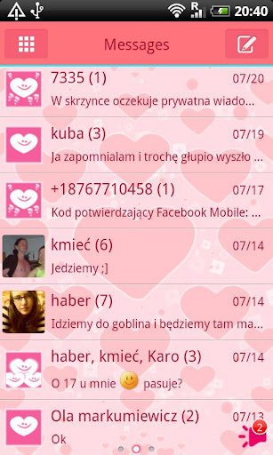 GO SMS Pro Pink Hearts Theme