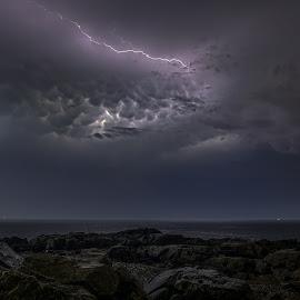 Mammatus Illumination by Josh Blash - Landscapes Weather ( clouds, lightning, weather, ocean, landscape, storm )