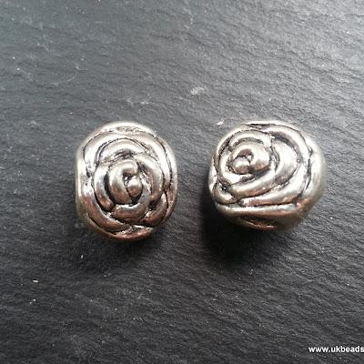 European Bead Silver Colour Rose x1