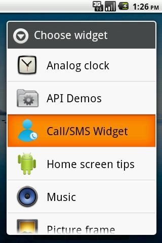 One Touch Call SMS Widget