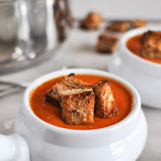 Creamy Tomato Soup with Brown Butter Garlic Croutons