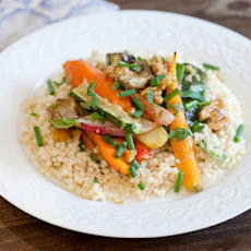Roasted Vegetable Salad over Herbed Israeli Couscous with Sherry Vinaigrette