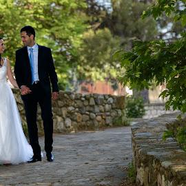 After the Ceremony by Chris Kontoravdis - Wedding Bride & Groom ( walking, wedding photography, wedding, bride, groom,  )