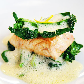 Striped Bass with Yuzu Kosho and Wilted Spinach