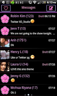 Pink Neon Heart Theme 4 GO SMS - screenshot
