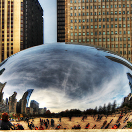 by Dipali S - City,  Street & Park  City Parks ( awe, reflection, illinois, bean, journey, beauty, cloud gate, travel, usa, people, city, mirror, urban scene, tourist, style, millennium park, contemporary, downtown district, kidney bean, chicago, built structure, design )