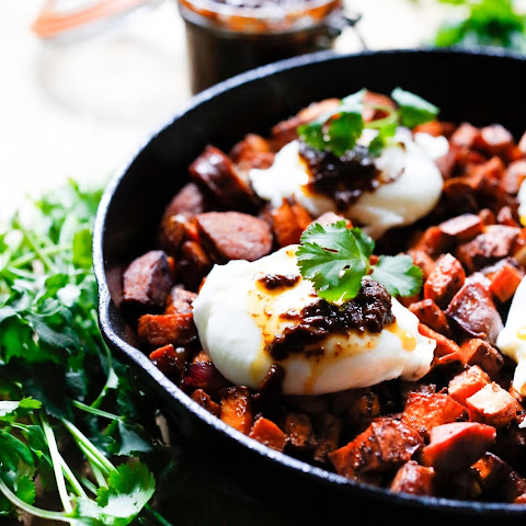 ... Potato Hash with Poached Eggs and Merguez Sausage Recipe | Yummly